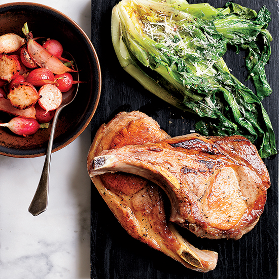 Skillet Pork Chops with Warm Escarole Caesar