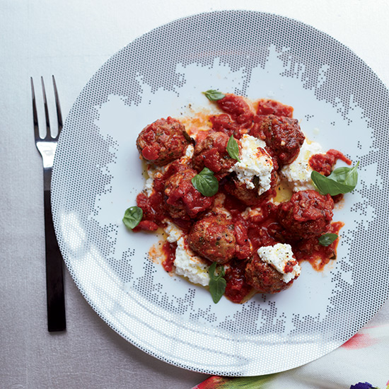 Herbed Lamb Meatballs with Rich Tomato Sauce and Ricotta