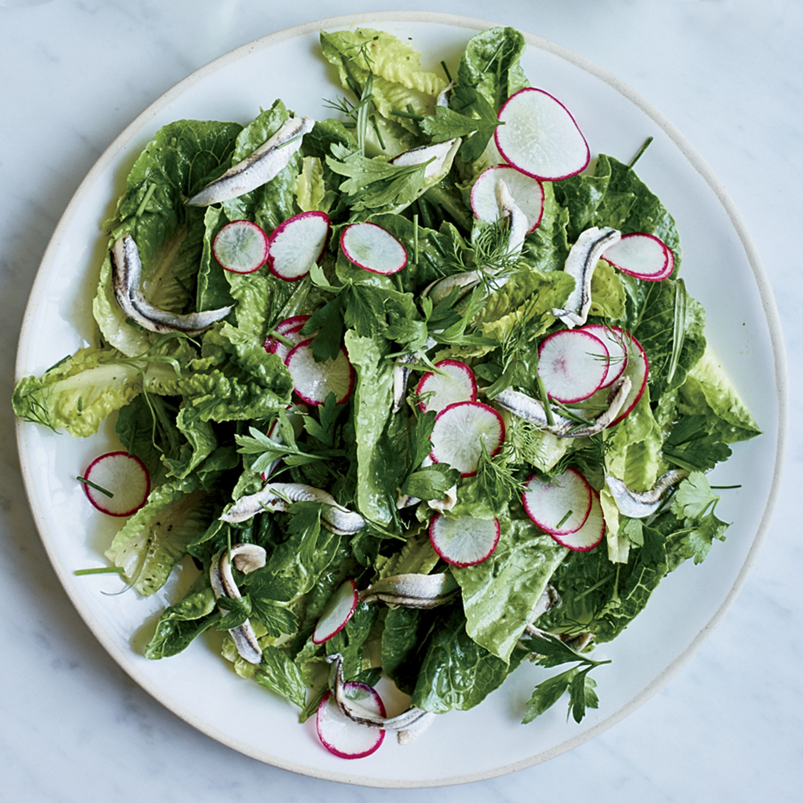 Little Gem Lettuce with White Anchovies