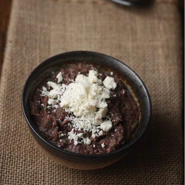 Spicy Black Bean Dip with Cotija Cheese