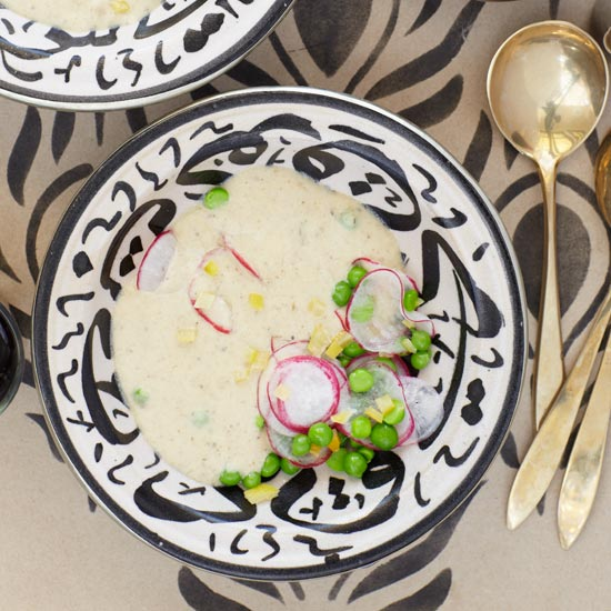 Silky Eggplant Soup with Baby Peas and Radishes