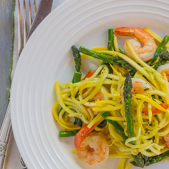 "Yellow Squash ""Linguine"" with Shrimp and Asparagus"