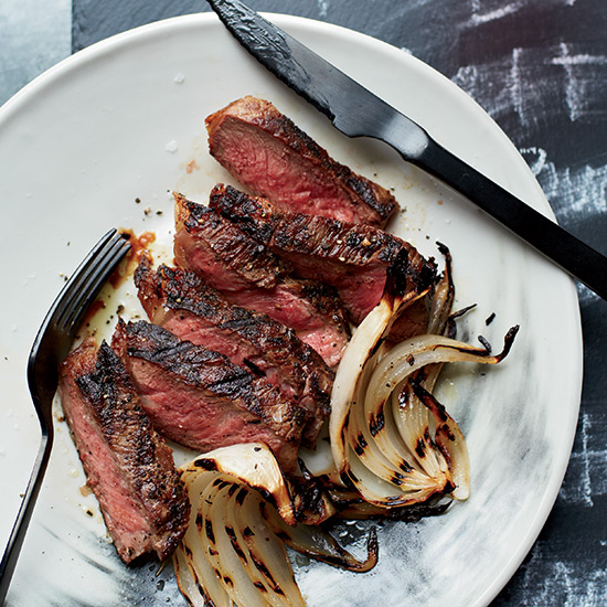 Grilled Strip Steaks with Onion Wedges
