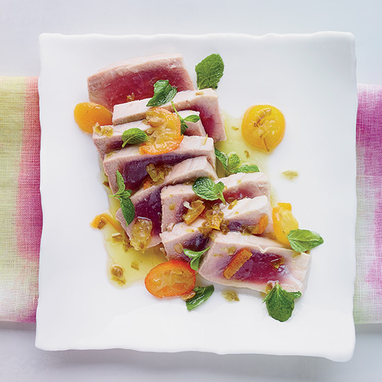 Poached Tuna with Kumquats and Jalapeño