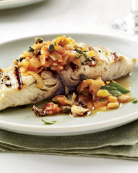 Grilled Fish with Artichoke Caponata