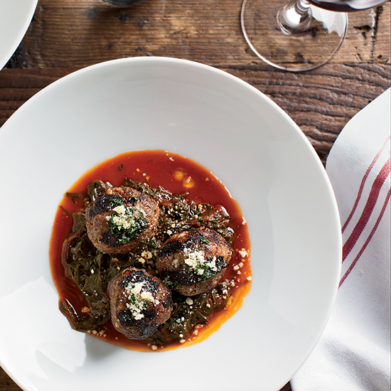Beef-Ricotta Meatballs with Braised Beet Greens