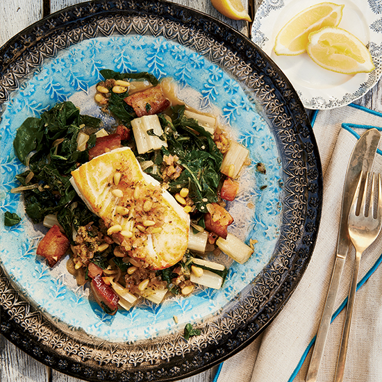 Pan-Seared Halibut with Braised Swiss Chard
