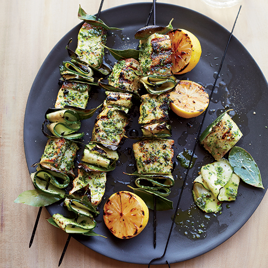 Swordfish Skewers with Salsa Verde