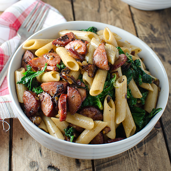 Recipes for two food wine whole wheat pasta with spicy chorizo and kale forumfinder Gallery