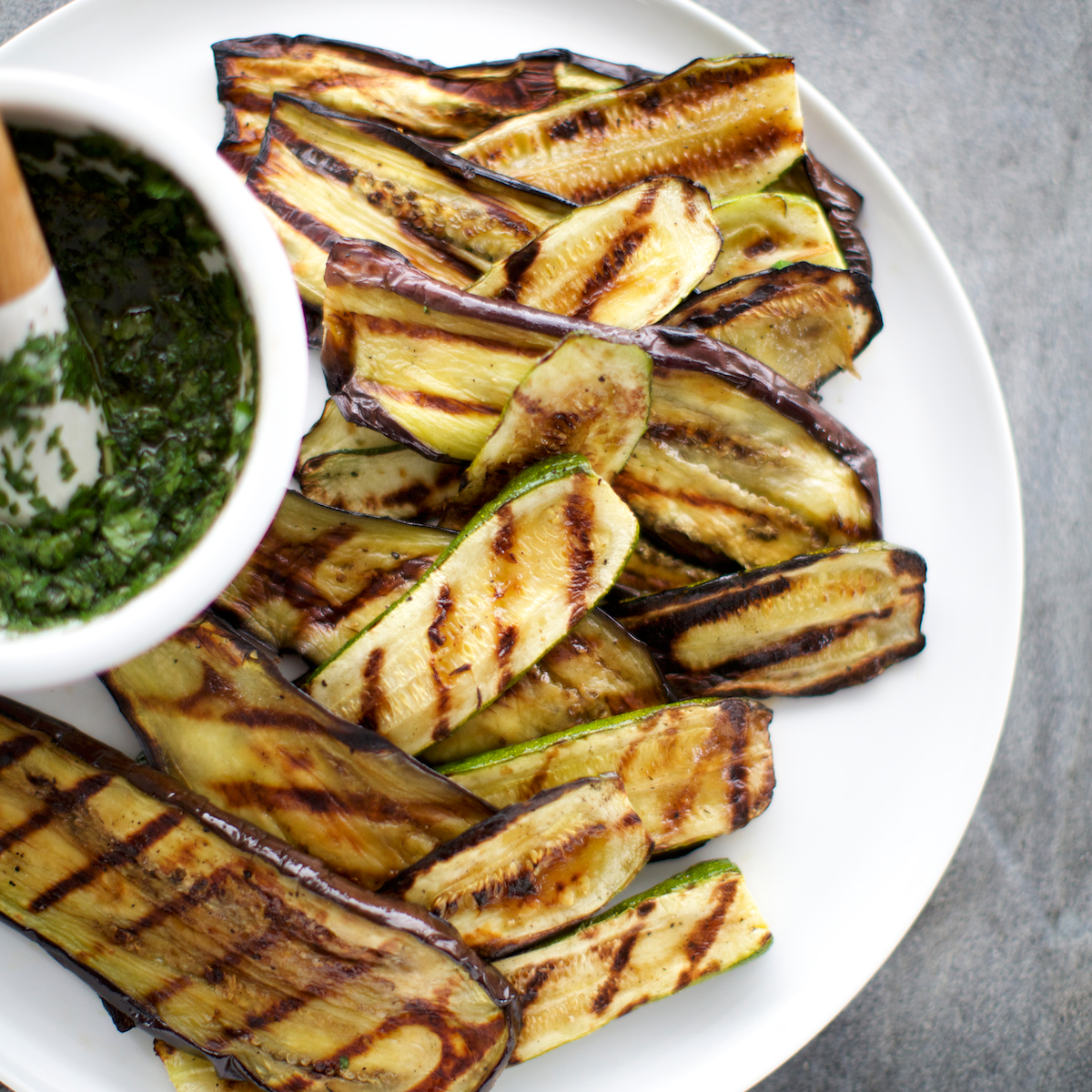 Day 20: Grilled Eggplant and Zucchini Salad with Salsa Verde