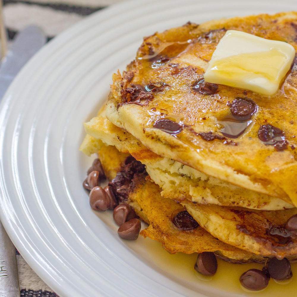 Chocolate Chip Coconut Pancakes