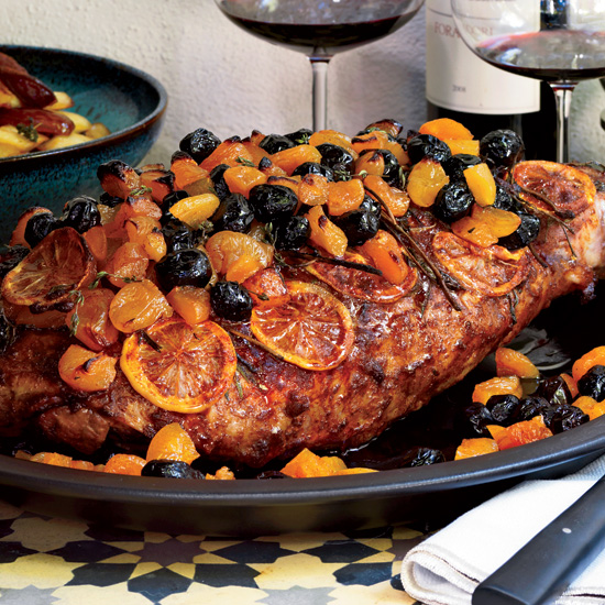 Spiced Leg of Lamb with Olives, Apricots and Lemons