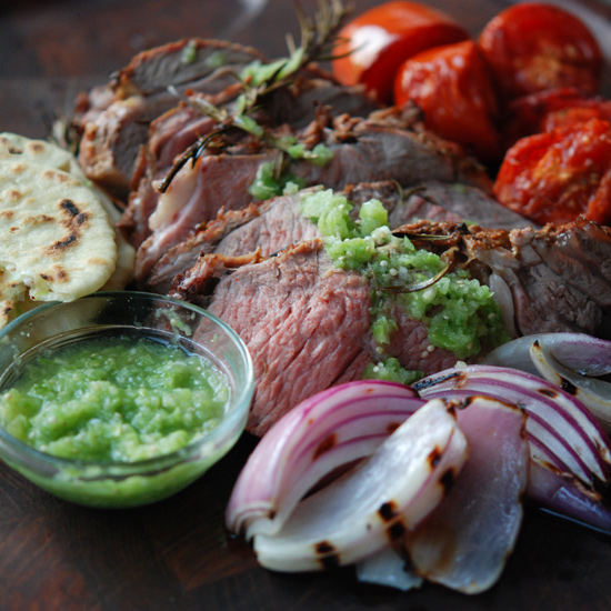 Grilled Leg of Lamb with Bacon Fat-Scallion Tortillas