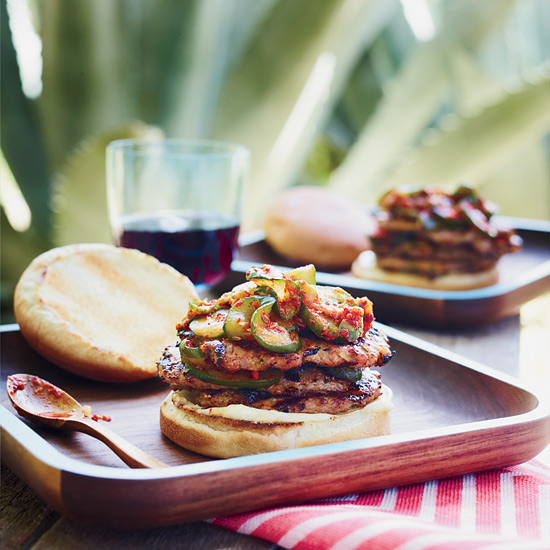 Triple Pork Burgers with Quick Cucumber Kimchi