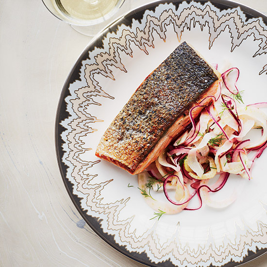 Crispy Salmon with Fennel Slaw