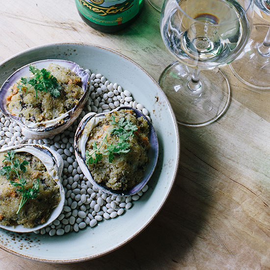 Stuffed Clams & Basque White