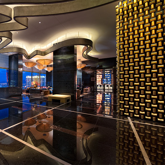 The Gold Bullion Wall at Mandarin Oriental; Las Vegas