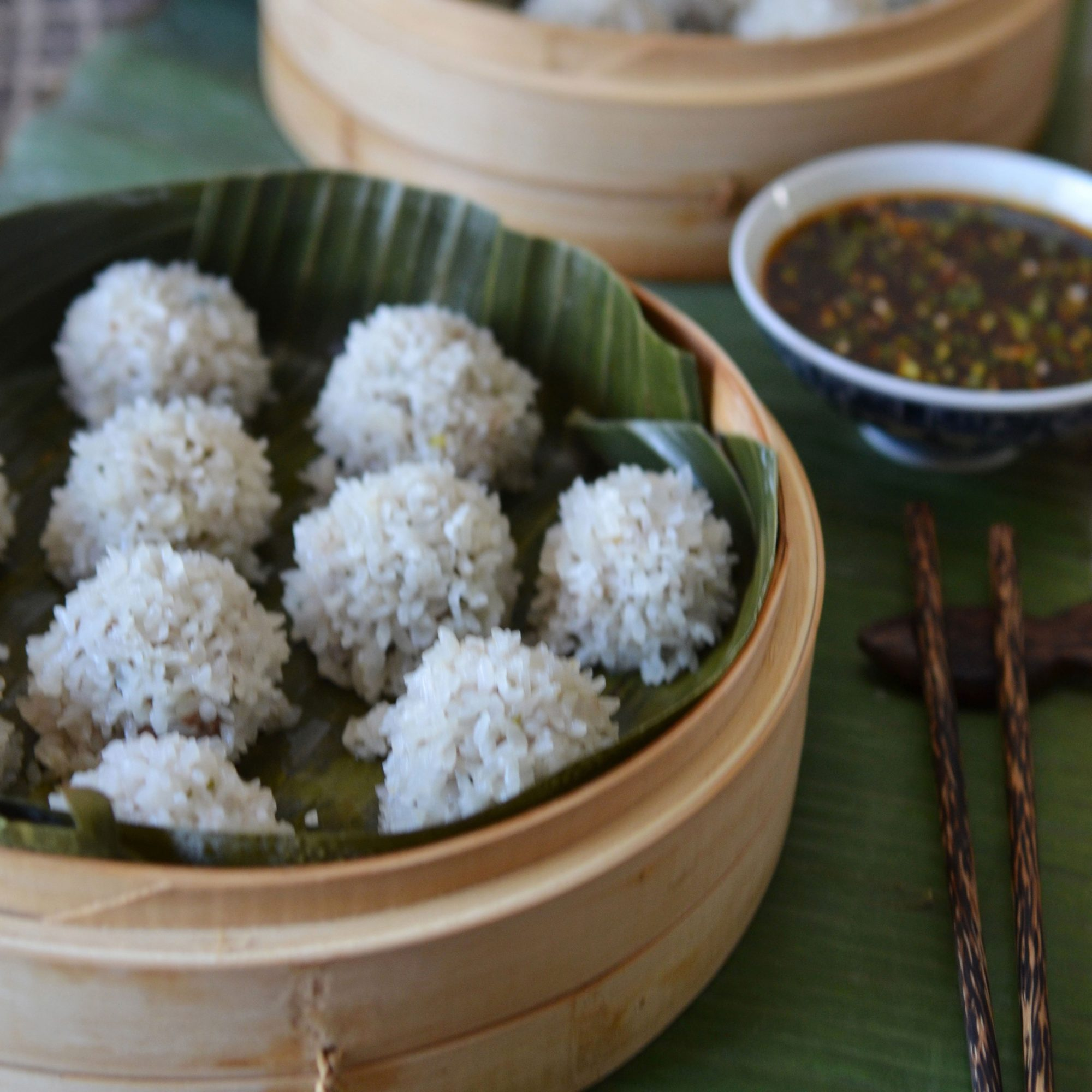 Andrew Zimmern's Pearl Rice Balls with Ginger-Sesame Sauce