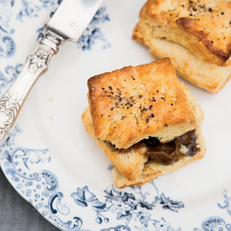 Black Pepper Biscuits with Bourbon-Molasses Butter