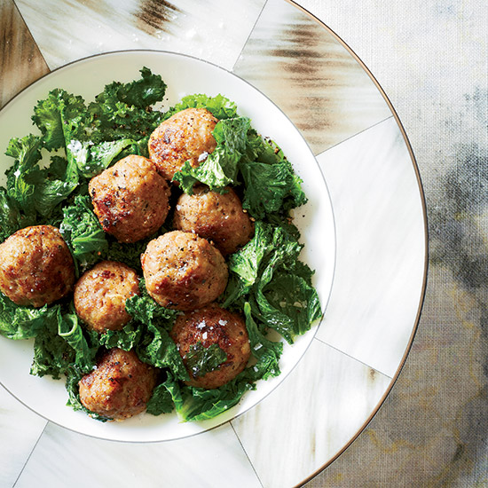 Veal Meatballs with Mustard Greens