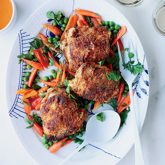 Crisp Chicken Thighs with Peas and Carrots