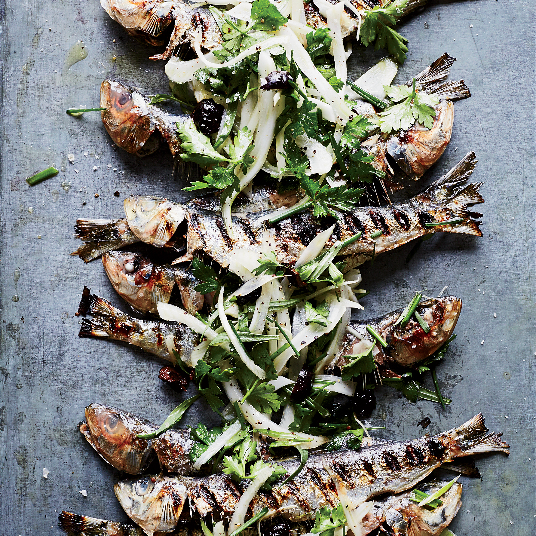 May 22: Grilled Sardines with Herbed Fennel-and-Olive Salad