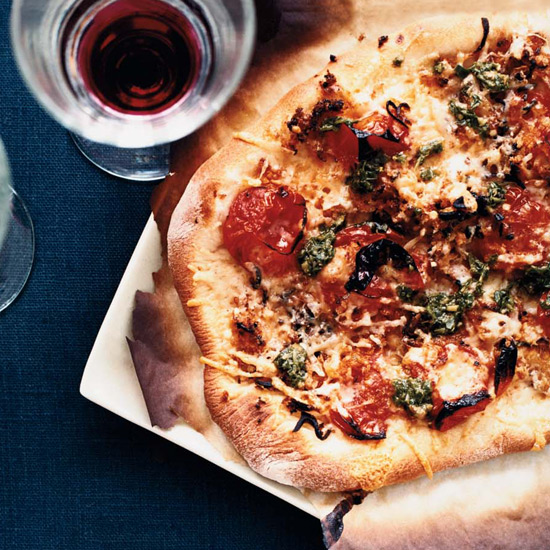 Pizza with Charred Cherry Tomatoes and Pesto