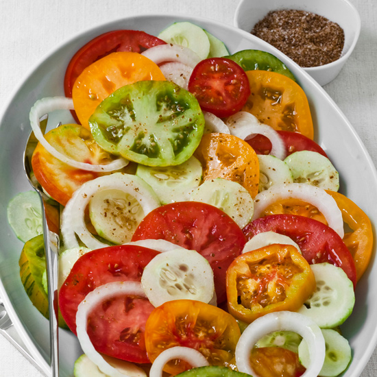 Tomato, Cucumber and Sweet Onion Salad with Cumin Salt