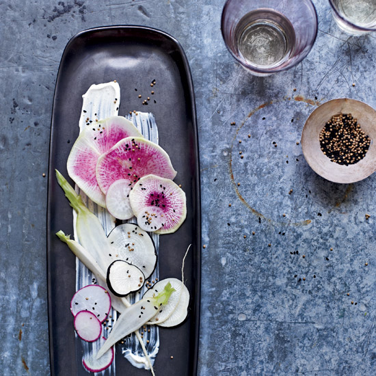 Summer Party Food: Radishes with Sour Cream Dressing and Nigella Seeds