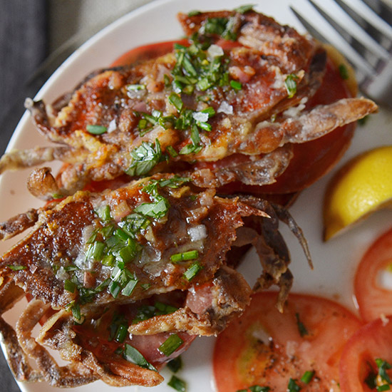 Andrew Zimmern's Soft-Shell Crab Toasts
