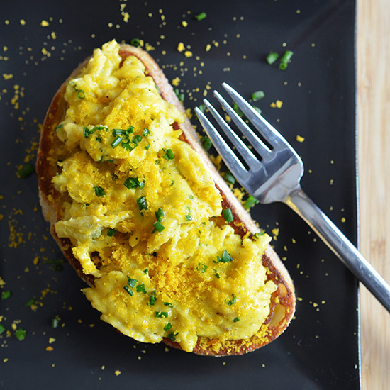 Andrew Zimmern's Soft-Scrambled Egg Toasts with Bottarga