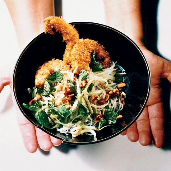 Crispy Shrimp with Noodle and Bean Sprout Salad
