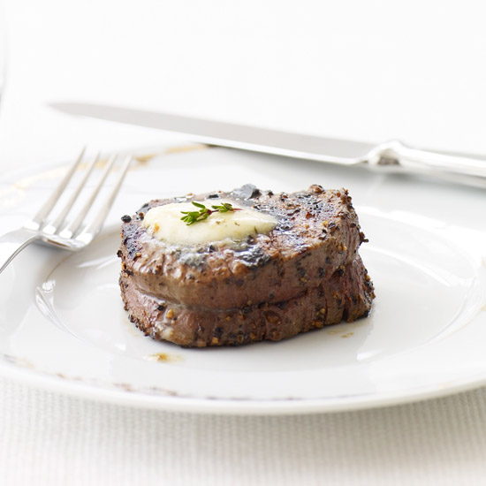 Peppered Beef Tenderloin with Roasted Garlic–Herb Butter