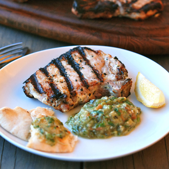 Grilled Pork Kalymnos-Style with Eggplant-and-Tomato Salad