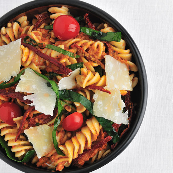 Fusilli with Spinach and Sun-Dried-Tomato Pesto