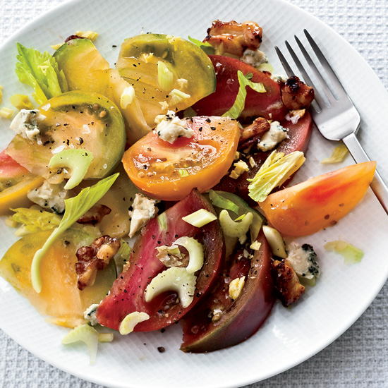 Tomato Salad with Pickled Walnuts and Blue Cheese