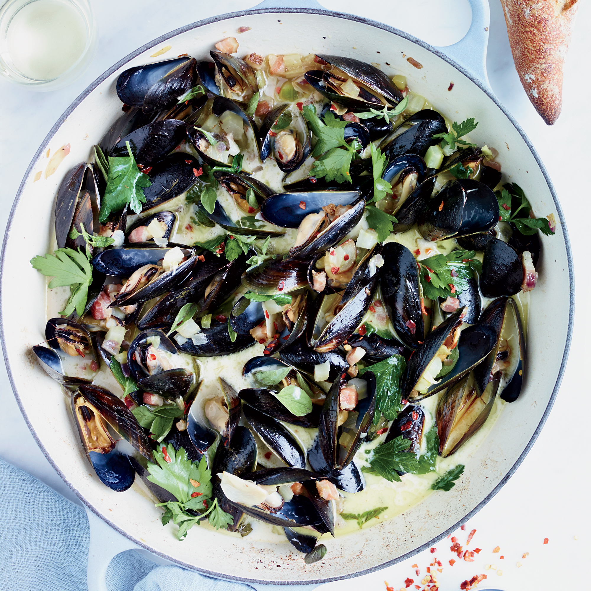Mussels with Pancetta and Crème Fraîche Recipe - Jimmy Bannos Jr ...