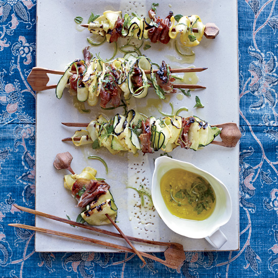 Summer Party Food: Grilled Squash Ribbons and Prosciutto with Mint Dressing