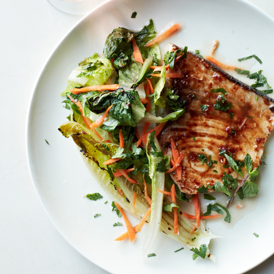 Swordfish with Grilled Romaine Salad