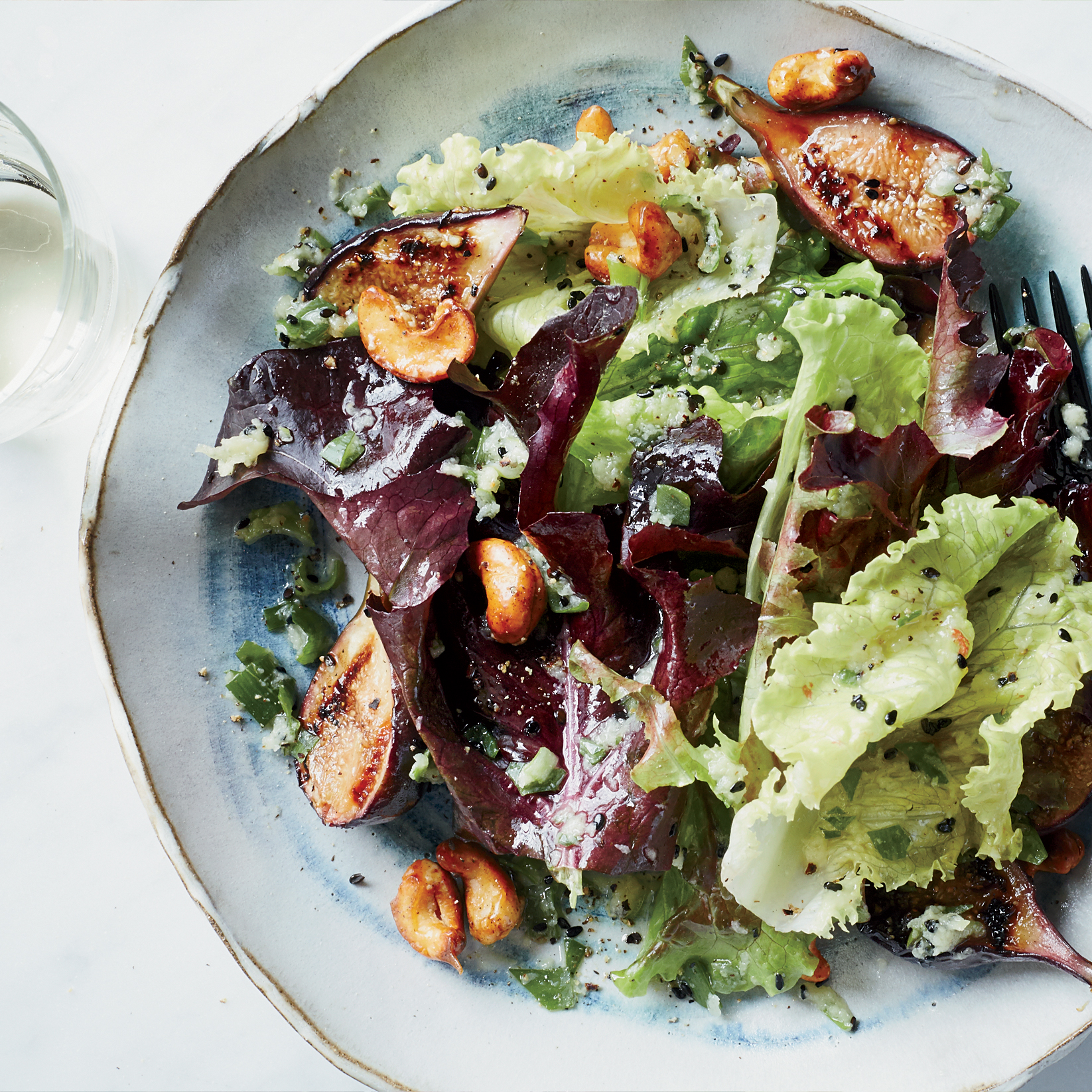 Grilled Fig Salad with Spiced Cashews