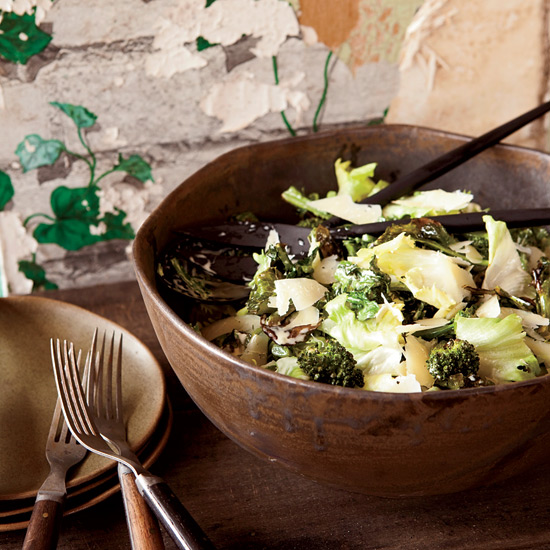 Escarole and Roasted Broccoli Salad with Anchovy Dressing