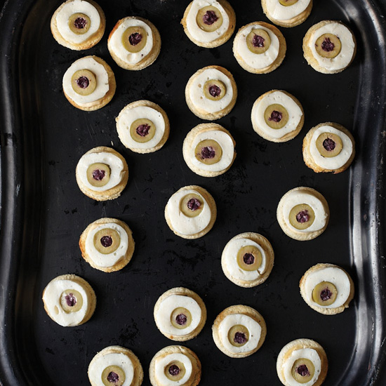 Scallop-and-Olive Eyeball Canapés