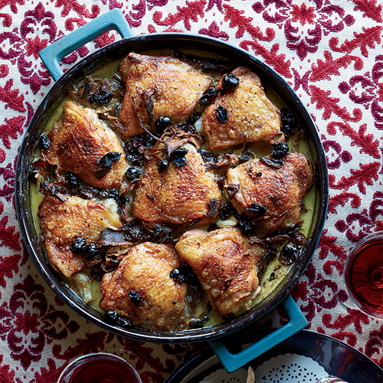 Braised Chicken Thighs with Potatoes, Porcini and Dried Cherries