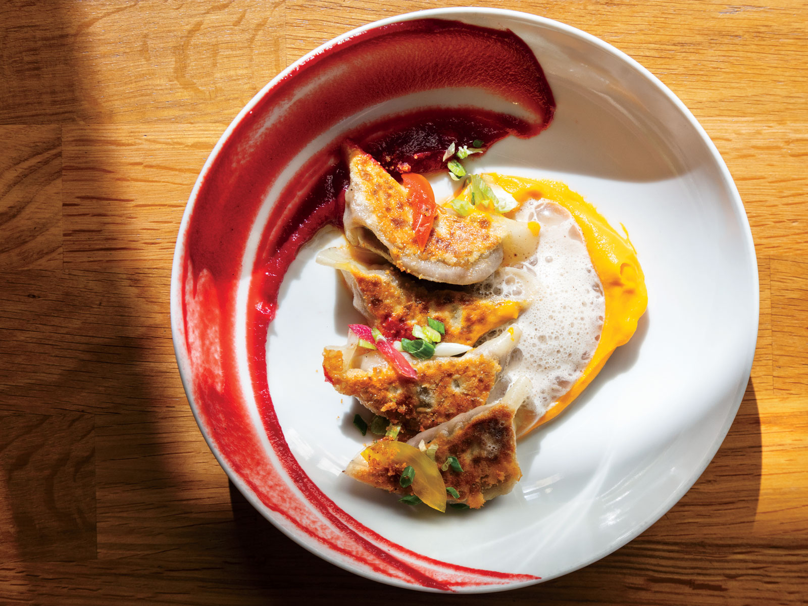 Sweet Potato Gyoza with Beet Puree Recipe