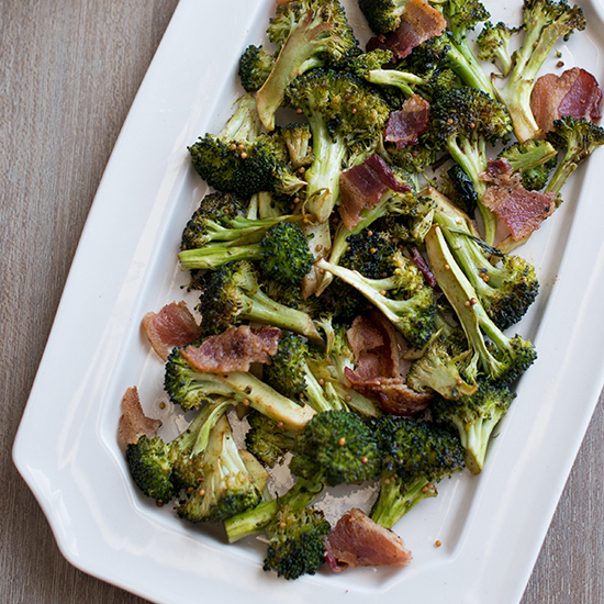 Mustard Roasted Broccoli with Bacon