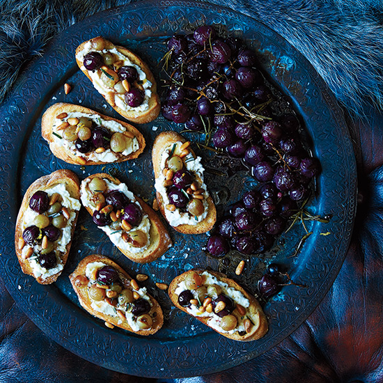 Ricotta and Roasted Grape Crostini