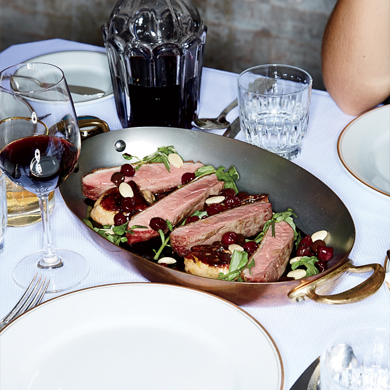 Pan-Roasted Duck with Cherries and Olives