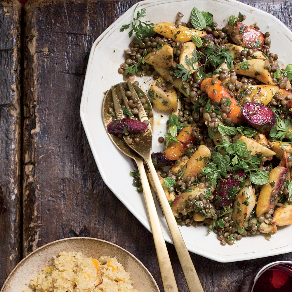 Warm Lentil and Root Vegetable Salad with Coconut Tzattziki