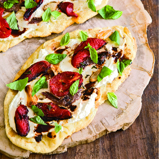 Flatbread with Tomatoes, Ricotta and Anchovies