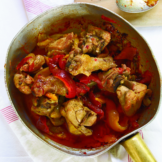 Roman-Style Braised Chicken with Roasted Peppers